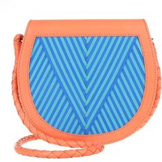 "Lili Radu Saddle Bag """"V"""" Orange/ Striking Blue/ Turquoise in... ($520) ❤ liked on Polyvore featuring bags, handbags, shoulder bags, colorful, blue leather purse, blue handbags, chain strap shoulder bag, chain shoulder bag and leather shoulder handbags"