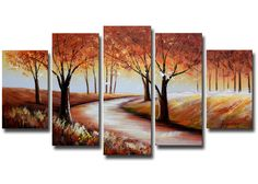 'Streaming Through Colorful Forest' 5 Piece Original Painting on Wrapped Canvas Set