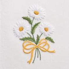 Daisies<br>Hand Towel - White Cotton