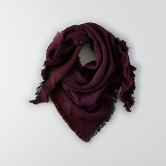AE Triangle Scarf ($15) ❤ liked on Polyvore featuring accessories, scarves, red, red scarves, triangular shawl, red shawl, american eagle outfitters and triangle shawl