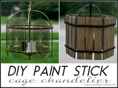 DIY HOME DECOR   Refab a brass chandelier with spray paint and paint sticks to look like a caged chandelier!