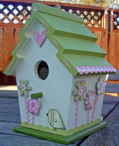 painted wooden birdhouses with seniors - very cool, they loved it! ps - make sure to get black and brown paint next time