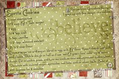 Spritz Cookies (my Mom's recipe), recipe card is made digitally using Photoshop Elements