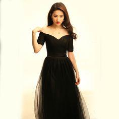 f05e4a041 YIDINGZS Black Tulle Long Bridesmaid Dresses 2018 New Sweetheart Half  Sleeve Fashion Party Dress Under 50$-in Bridesmaid Dresses from Weddings &  Events on ...