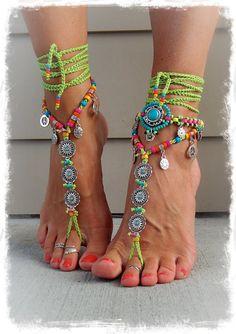 BIKINI Daisy BAREFOOT sandals Green Ibiza summer Toe von GPyoga