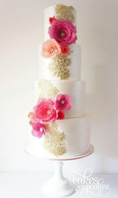 Five Tier Weddings-Cake with Magenta Florals, and Gold Scroll.