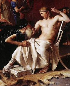 Detail: Priam at the feet of Achilles. 1876. winner Prix de Rome. Joseph Wencker.  1848-1916. French.