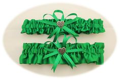 Green Wedding Garter Set with Celtic Heart Charms by StarBridal