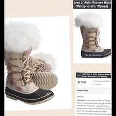 """Sorel Joan of Arctic Reserve Winter Pac Boots These beautiful warm, winter boots with a bit of """"Bling""""... Real Cowhide with Shearling top. New in Box, never worn! Perfect in the snow for a dressier look. I have exact same pair in different color. My favorite pair! SOREL Shoes Winter & Rain Boots"""