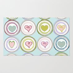 Badge of Hearts -Blue Area & Throw Rug - Fun & Fresh design filled with colorful badges adn hearts- comes in pink blue and chalkboard.  See all products with this design in our shops www.cafepress.com/drapestudio adn www.zazzle.com/drapestudio adn www.society6.com/drapestudio and www.etsy.com/shop/drapestudio AND for Fabric by the Yard www.spoonflower.com/profiles/drapestudio OR visit our main site www.drapestudio.com