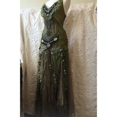 Items similar to RESERVED FOR SABRINA Woodland fairy dress , Green... ❤ liked on Polyvore featuring dresses, bohemian dresses, bohemian style dresses, army green dress, boho dresses and boho chic dresses