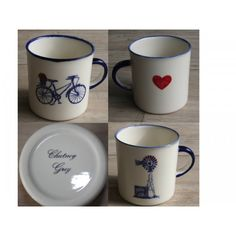 2 Mug´s Farm Range Camp - Windmill & Bicycle Set Special (Blue Set) Farm Range Camp Mug´s Windmill & Bicycle Handmade Ceramic Mugs Colour: Blue and Red Heart 2 x Ceramic Mug Dishwasher and Microwave safe Call us: 861999938 Chutney Grey - Cape Town Handmade Ceramic, Ceramic Mugs, Windmill, Cape Town, Chutney, Creative Design, Microwave, Dishwasher, Bicycle