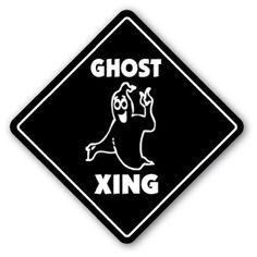 GHOST CROSSING Sign novelty gift halloween casper ** You can get more details by clicking on the image.