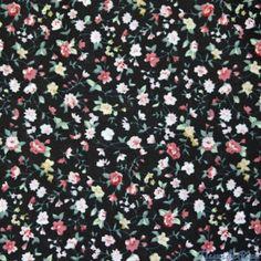 Tissu Coton imprimé peinture florale sur fond noir au mètre
