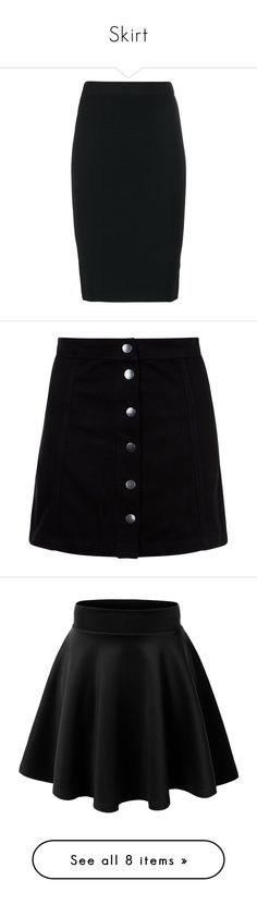 """""""Skirt"""" by natalie-dos-reis-lopes on Polyvore featuring skirts, bottoms, black, pencil skirt, midi skirt, high waisted midi skirt, knee length pencil skirt, calf length skirts, mini skirts e a-line skirt"""