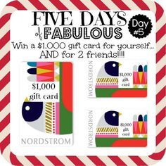This is your last day to enter our Five Days of Fabulous! Tomorrow, one lucky winner will receive three $1000 Nordstrom gift cards! See blog for details and to enter the Rafflecopter. Don't forget to share this good news with your friends! http://shullfamily.blogspot.com/2015/12/five-days-of-fabulous-day-five-giveaway.html