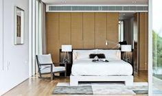 Modern natural space art bedroom. The Ray T Table Lamp. Designed by Rodolfo Dordoni.