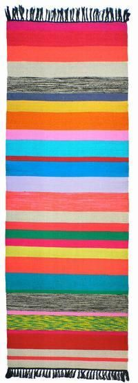 Beautiful and graphic striped rug! Handmade in a small textile mill in Tunisia by 3 skilled weavers.