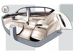BMW 7 Series interior design sketch.