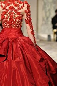 Luscious and sophisticated | www.myLusciousLife.com - Marchesa red gown - more party inspiration on our Luscious website: http://mylusciouslife.com/photo-galleries/wining-dining-entertaining-and-celebrating/