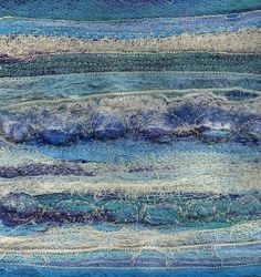 Thoughts of the Sea by Aileen Clarke Crafts Free Motion Embroidery, Embroidery Applique, Cross Stitch Embroidery, Ocean Colors, Rainbow Colors, Colours, Ocean Quilt, Contemporary Art Artists, Textiles Sketchbook
