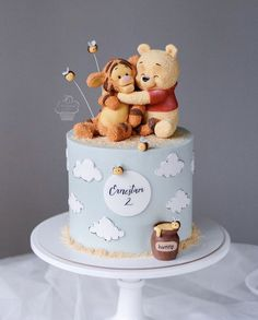 Baby First Birthday Cake, Pretty Birthday Cakes, Pretty Cakes, Cute Cakes, Beautiful Cakes, Amazing Cakes, Winnie The Pooh Cake, Creative Cakes, Baby Shower Cakes