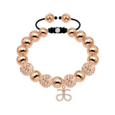 Gold 10mm Crystal 18ct Gold Plated Stainless Steel Bracelet with Arbonne Logo Charm