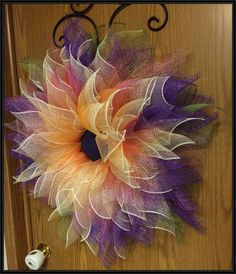 Purple/Ombre Deco Mesh Flower Wreath by ANobleTouch on Etsy
