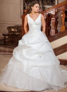 Ball-Gown V-neck Chapel Train Taffeta Organza Wedding Dress With Ruffle Lace (002012799)