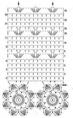 shema shtorki s tsvetochnoj kajmoj curtain with edging of simple motifs Would make a lovely scarf! Crochet Diagram, Crochet Chart, Filet Crochet, Crochet Motif, Crochet Doilies, Crochet Flowers, Crochet Lace, Crochet Curtain Pattern, Crochet Curtains
