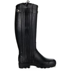 Le Chameau Chasseur rubber and leather boots (685 CAD) ❤ liked on Polyvore featuring shoes, boots, black, black leather boots, real leather boots, black waterproof boots, black leather shoes and waterproof shoes