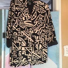 Jacket Black and Tan busy artistic jacket I.B. Diffusion Jackets & Coats Blazers