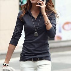 Casual Polo Collar Long Sleeves Solid Color T-Shirt For Women (DEEP GRAY,M) in Tees & T-Shirts | DressLily.com
