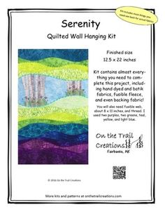 These videos are tutorials for some of the steps in the Serenity wall hanging kit. Click on the photo to order the kit.