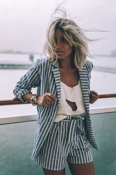 Stripes on stripes. Women's fashion. Women's fashion, girl's got style. Love this blazer and shorts matching combo. Blue with white stripes, an't go wrong. Also love the keyhole white top.