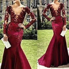 Burgundy Prom Dresses,Lace Evening Dress,Prom Gowns With Sheer Long Sleeves,Mermaid Prom Gown,Beautiful Lace Formal Gown