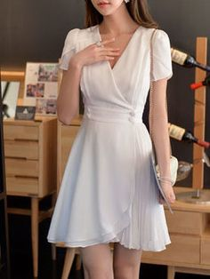 Casual Short Sleeve Asymmetrical Plain Mini Dress