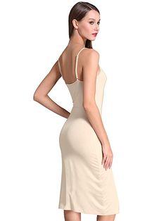 54c3184d4f MSBASIC Women s Adjustable Spaghetti Straps Long Cami Slip Dress