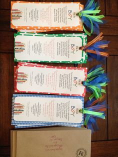"@Andrea / FICTILIS Morris Bookmark Invitations for ""Bring a Book"" Baby shower theme."