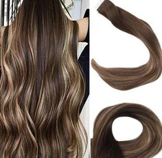 Extensions Blondes, Brown Hair Extensions, Tape In Extensions, 100 Human Hair Extensions, Hair Lights, Human Hair Color, Remy Human Hair, Light Brown Hair, Light Hair