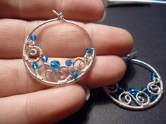 Hoop earrings in blue and silver wire wrapped jewelry by Juditta