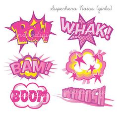 Superhero Girl Clip Art - Comic Noise clip art - Superhero Text Bubble Clipart