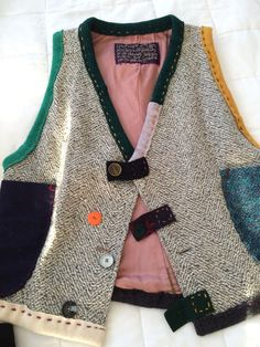 CRISPINA FRENCH Art To Wear Upcycled Wool vest jacket  L XL #CrispinaFrench #BasicJacketVEST