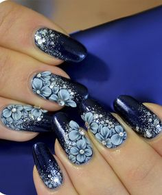 Intricate Blue Floral Nail Art Designs