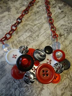 Red Zebra Button Necklace   Repurposed Buttons  Button Jewelry  Zebra Buttons Red Buttons love it! must try! #ecrafty