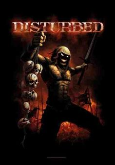 Disturbed Divide & Conquer Fabric Poster - Disturbed Divide and Conquer  Fabric Poster Flag. Featuring The Guy holding a rack of skulls. Poster  measures 30 x
