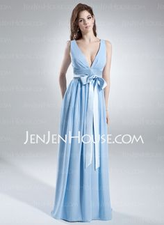 Bridesmaid Dresses - $116.69 - A-Line/Princess V-neck Floor-Length Chiffon Charmeuse Bridesmaid Dress With Ruffle Sash (007000846) http://jenjenhouse.com/A-Line-Princess-V-Neck-Floor-Length-Chiffon-Charmeuse-Bridesmaid-Dress-With-Ruffle-Sash-007000846-g846