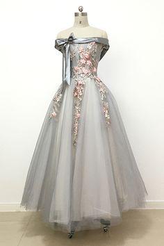Light grey tulle off shoulder flower lace long prom dress, bowknot A-line bridesmaid dresses | QPromDress | Cheap Prom Dresses online