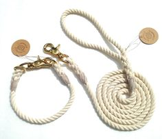 Natural Cotton Rope Dog Collar and 5 ft Leash by EmiiDesignsStudio