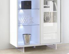 Vaisselier lumineux blanc laqué design FLAVIA 2